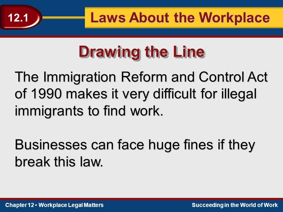 Chapter 12 Workplace Legal MattersSucceeding in the World of Work Laws About the Workplace 12.1 The Immigration Reform and Control Act of 1990 makes it very difficult for illegal immigrants to find work.