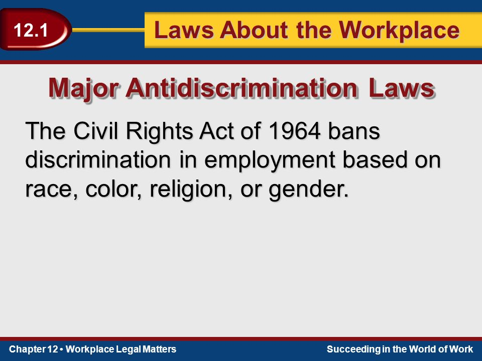 Chapter 12 Workplace Legal MattersSucceeding in the World of Work Laws About the Workplace 12.1 The Civil Rights Act of 1964 bans discrimination in employment based on race, color, religion, or gender.