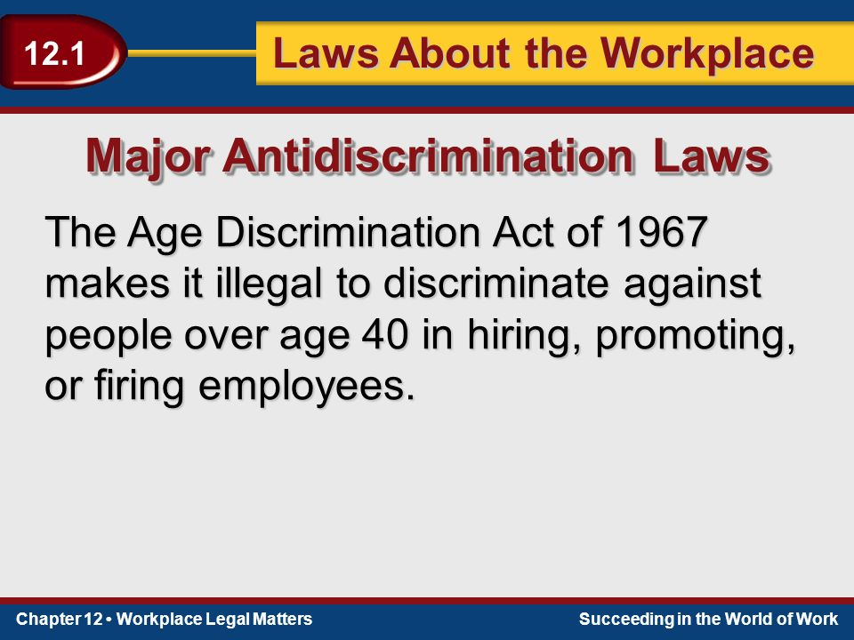 Chapter 12 Workplace Legal MattersSucceeding in the World of Work Laws About the Workplace 12.1 The Age Discrimination Act of 1967 makes it illegal to discriminate against people over age 40 in hiring, promoting, or firing employees.