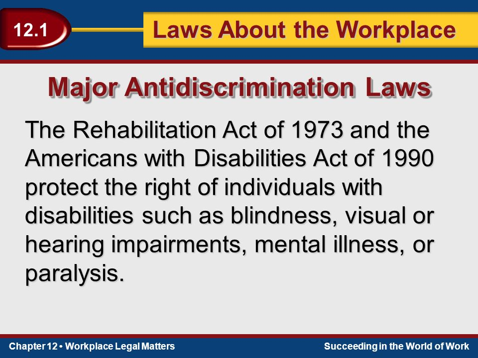 Chapter 12 Workplace Legal MattersSucceeding in the World of Work Laws About the Workplace 12.1 The Rehabilitation Act of 1973 and the Americans with Disabilities Act of 1990 protect the right of individuals with disabilities such as blindness, visual or hearing impairments, mental illness, or paralysis.