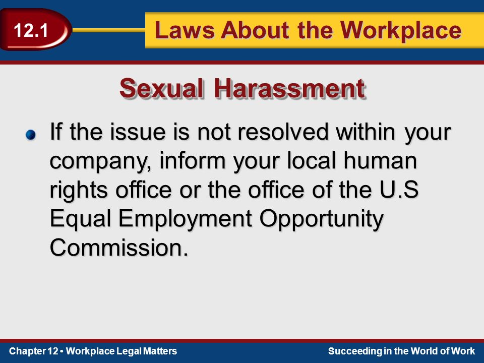 Chapter 12 Workplace Legal MattersSucceeding in the World of Work Laws About the Workplace 12.1 If the issue is not resolved within your company, inform your local human rights office or the office of the U.S Equal Employment Opportunity Commission.