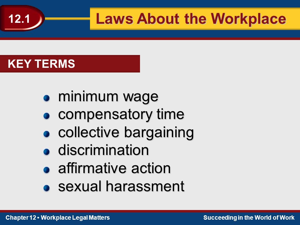 Chapter 12 Workplace Legal MattersSucceeding in the World of Work Laws About the Workplace 12.1 minimum wage compensatory time collective bargaining discrimination affirmative action sexual harassment KEY TERMS