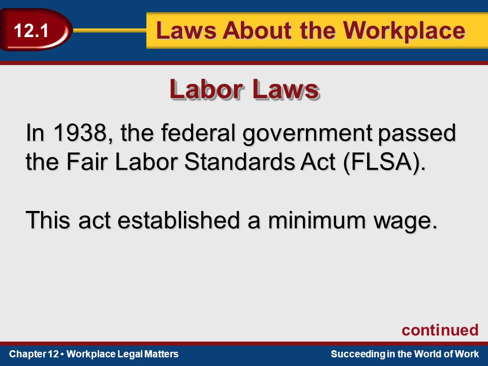 Chapter 12 Workplace Legal MattersSucceeding in the World of Work Laws About the Workplace 12.1 In 1938, the federal government passed the Fair Labor Standards Act (FLSA).