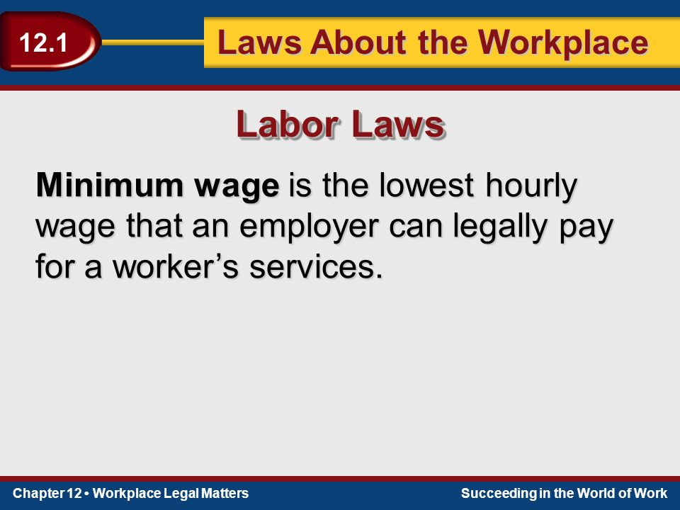 Chapter 12 Workplace Legal MattersSucceeding in the World of Work Laws About the Workplace 12.1 Minimum wage is the lowest hourly wage that an employer can legally pay for a worker's services.