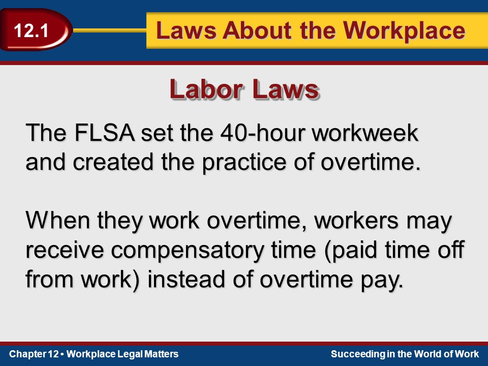 Chapter 12 Workplace Legal MattersSucceeding in the World of Work Laws About the Workplace 12.1 The FLSA set the 40-hour workweek and created the practice of overtime.