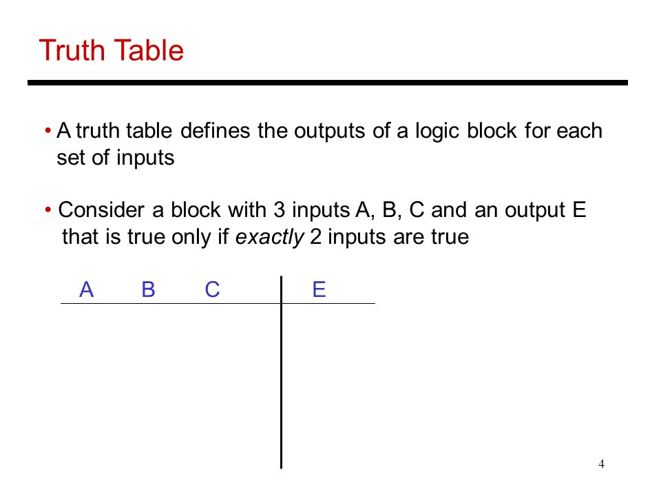 4 Truth Table A truth table defines the outputs of a logic block for each set of inputs Consider a block with 3 inputs A, B, C and an output E that is true only if exactly 2 inputs are true A B C E