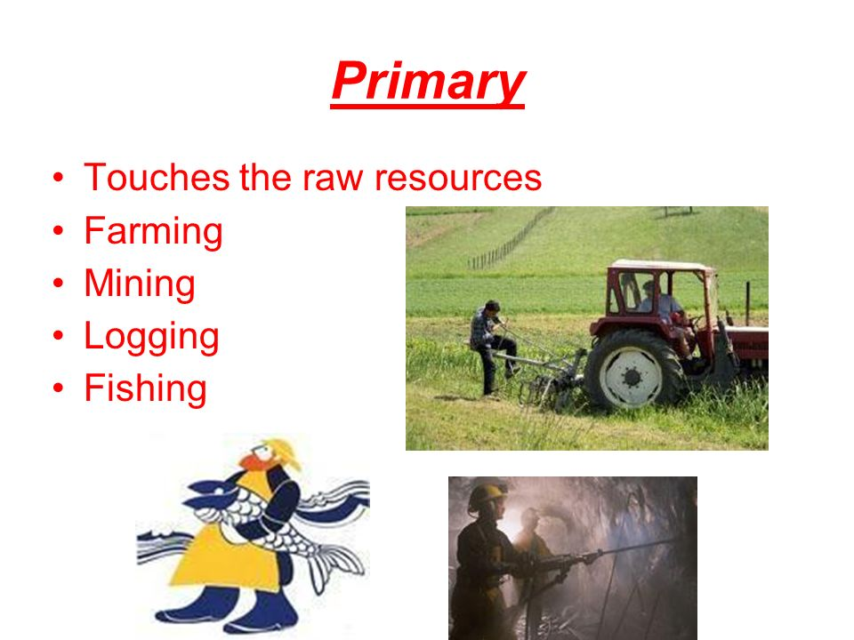 Primary Touches the raw resources Farming Mining Logging Fishing