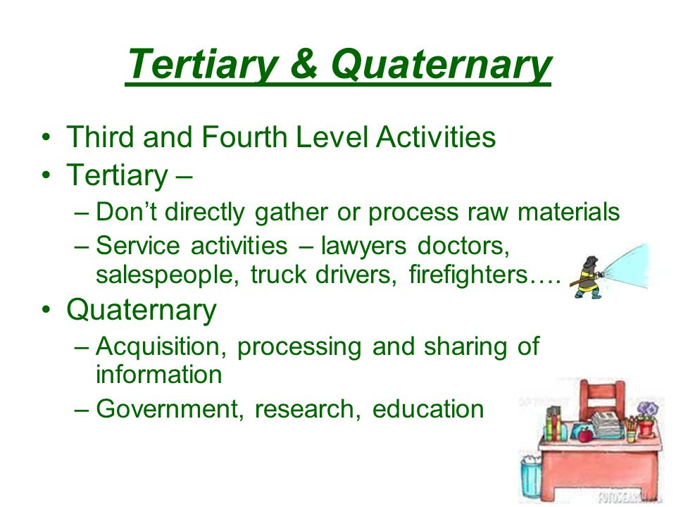 Tertiary & Quaternary Third and Fourth Level Activities Tertiary – –Don't directly gather or process raw materials –Service activities – lawyers doctors, salespeople, truck drivers, firefighters….