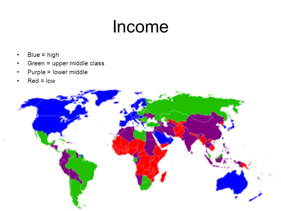 Income Blue = high Green = upper middle class Purple = lower middle Red = low
