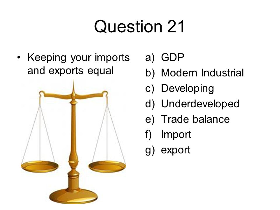 Question 21 Keeping your imports and exports equal a)GDP b)Modern Industrial c)Developing d)Underdeveloped e)Trade balance f)Import g)export