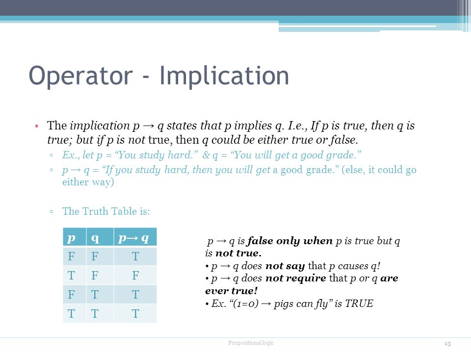 Operator - Implication The implication p → q states that p implies q.
