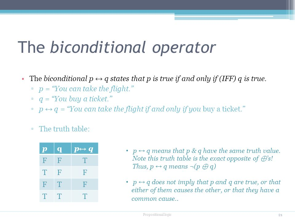 The biconditional operator The biconditional p ↔ q states that p is true if and only if (IFF) q is true.