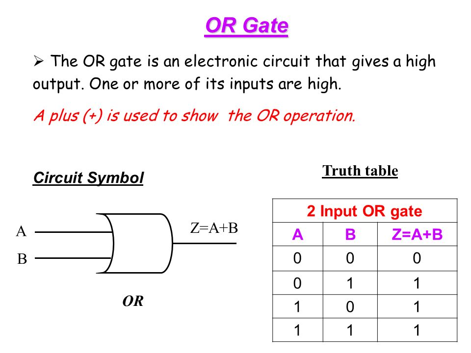 OR Gate  The OR gate is an electronic circuit that gives a high output.