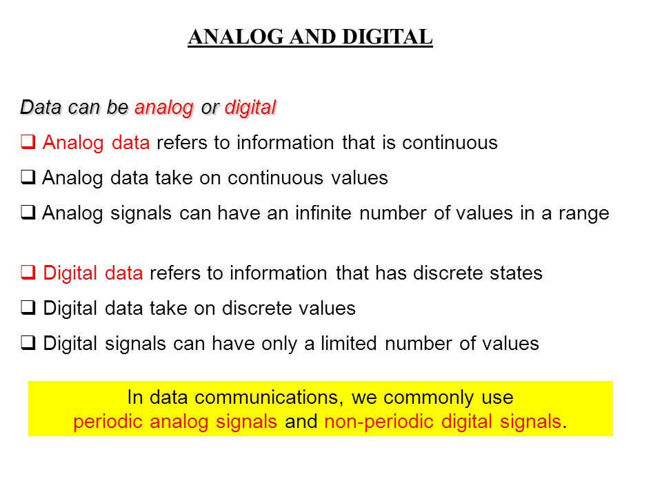 Data can be analog or digital  Analog data refers to information that is continuous  Analog data take on continuous values  Analog signals can have an infinite number of values in a range  Digital data refers to information that has discrete states  Digital data take on discrete values  Digital signals can have only a limited number of values In data communications, we commonly use periodic analog signals and non-periodic digital signals.