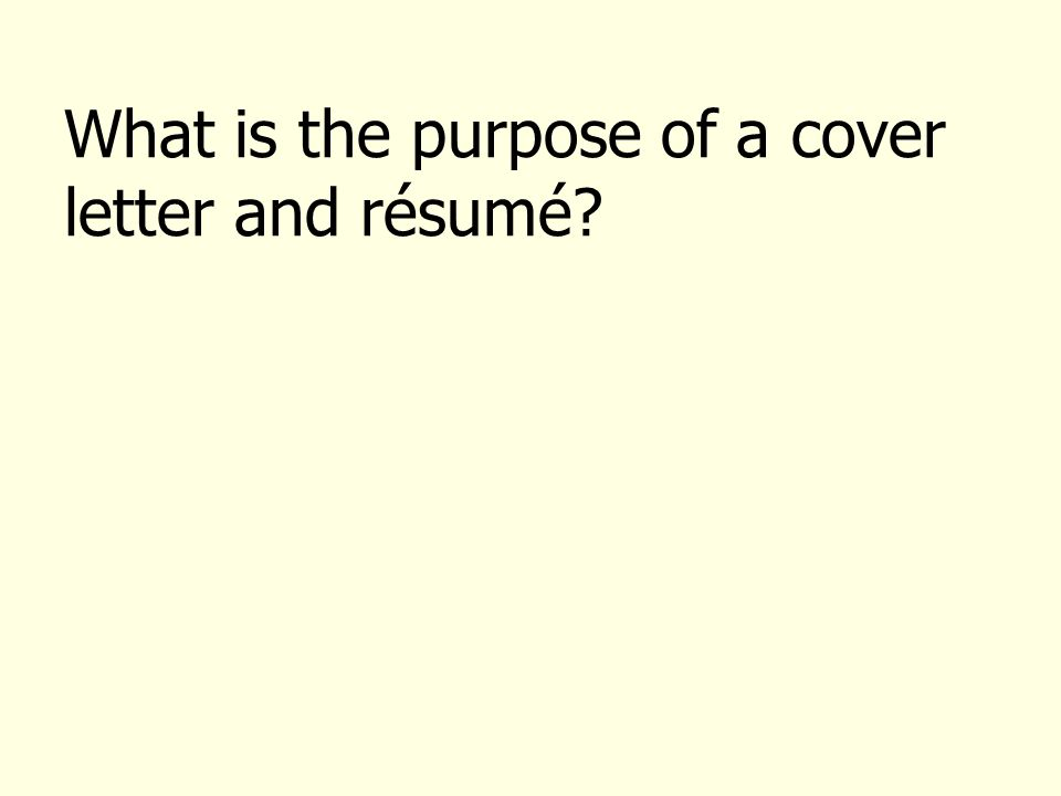 purpose of a cover letters