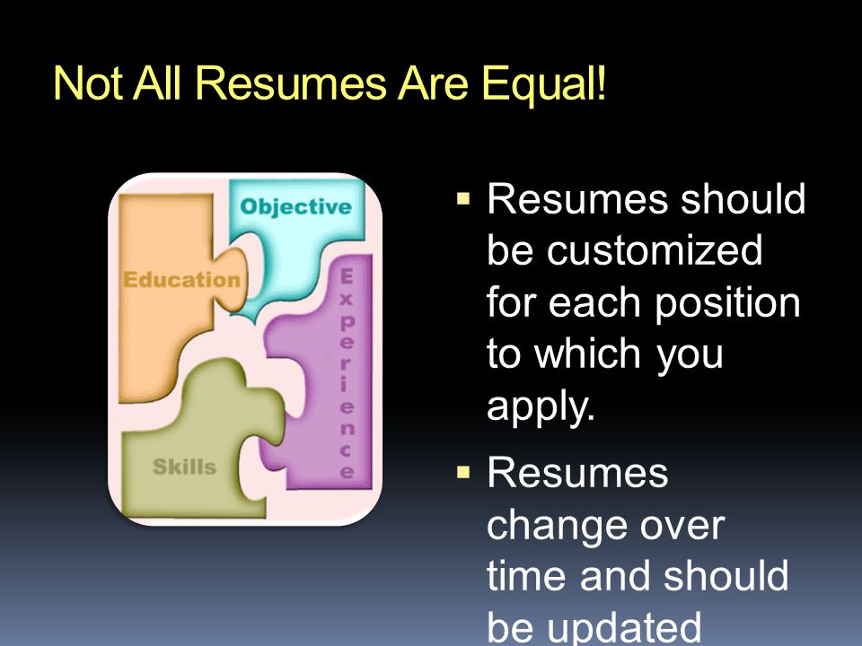 Not All Resumes Are Equal.  Resumes should be customized for each position to which you apply.