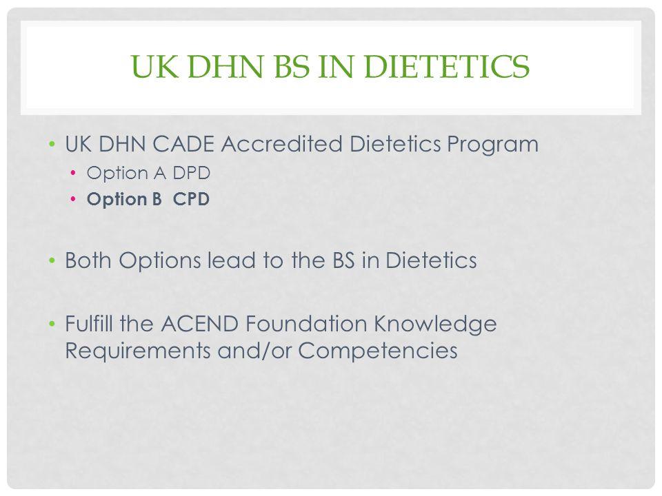 COORDINATED PROGRAM IN DIETETICS UK DEPARTMENT OF DIETETICS