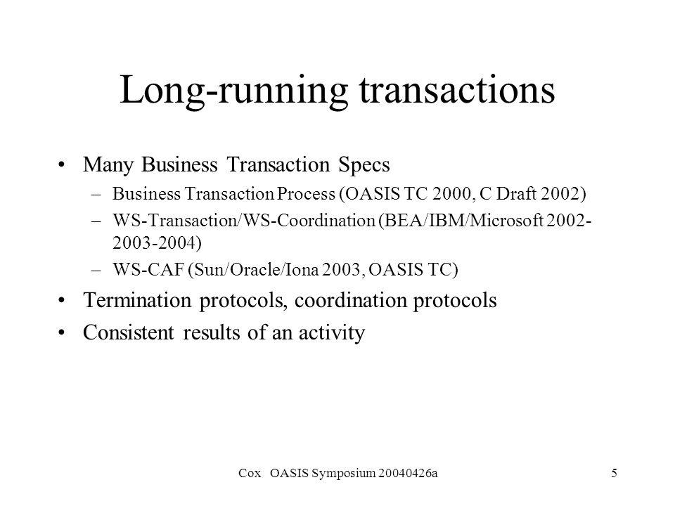Transactions != Business Processes William Cox, Ph D  OASIS