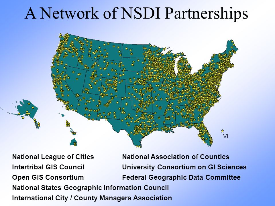VI A Network of NSDI Partnerships National League of Cities National Association of Counties Intertribal GIS CouncilUniversity Consortium on GI Sciences Open GIS ConsortiumFederal Geographic Data Committee National States Geographic Information Council International City / County Managers Association