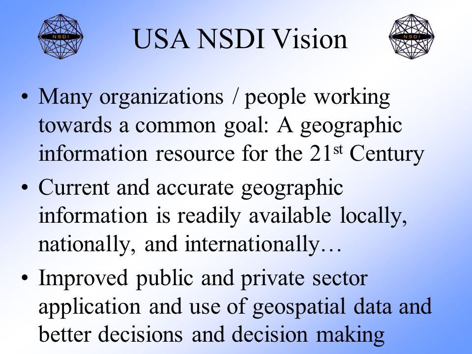 USA NSDI Vision Many organizations / people working towards a common goal: A geographic information resource for the 21 st Century Current and accurate geographic information is readily available locally, nationally, and internationally… Improved public and private sector application and use of geospatial data and better decisions and decision making