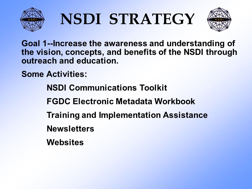 NSDI STRATEGY Goal 1--Increase the awareness and understanding of the vision, concepts, and benefits of the NSDI through outreach and education.