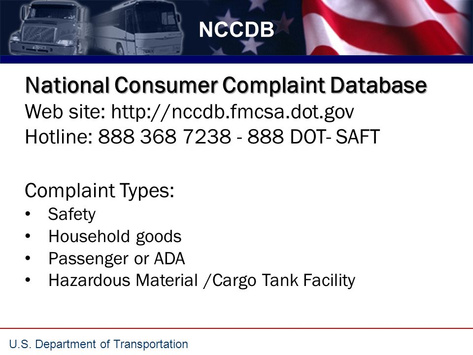 U S  Department of Transportation National Consumer