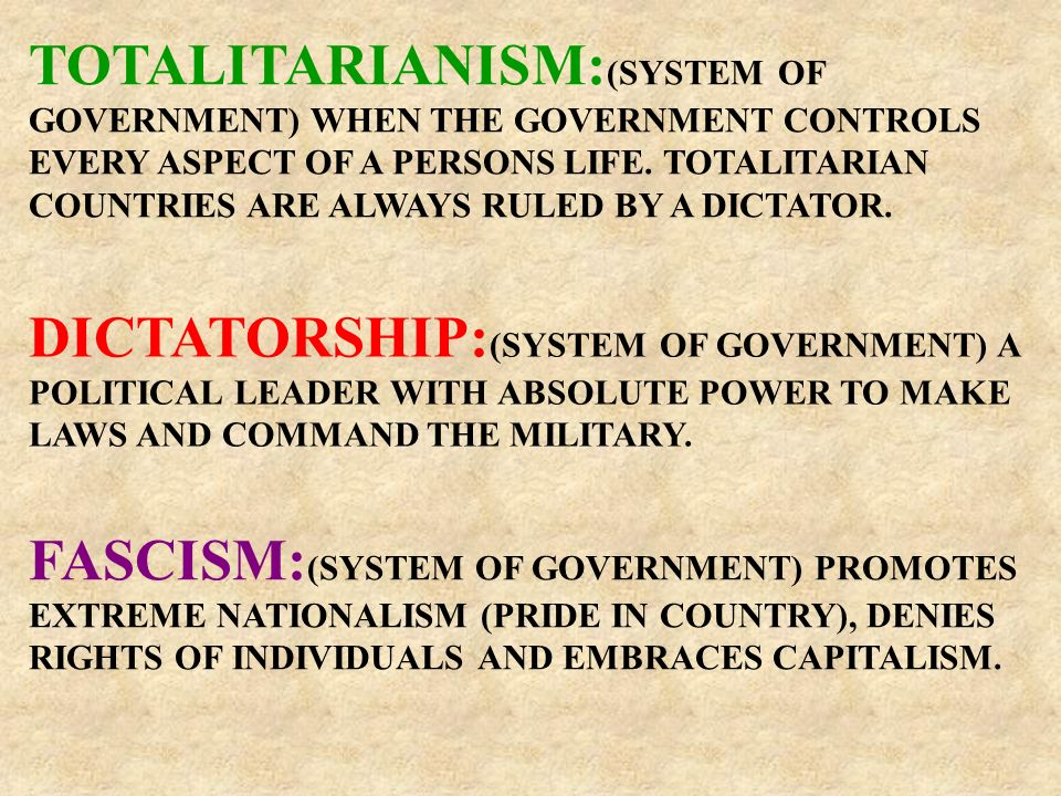 TOTALITARIANISM: (SYSTEM OF GOVERNMENT) WHEN THE GOVERNMENT CONTROLS EVERY ASPECT OF A PERSONS LIFE.