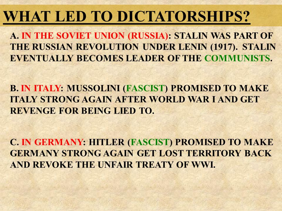 WHAT LED TO DICTATORSHIPS. A.