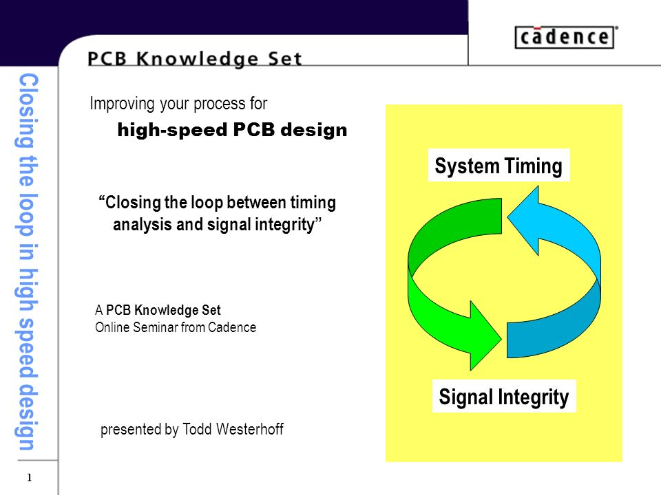 Closing the loop in high speed design 1 Improving your