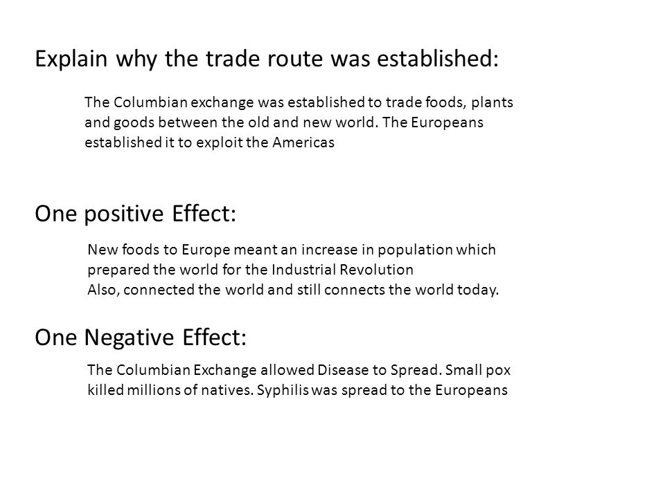 what were some effects of the columbian exchange