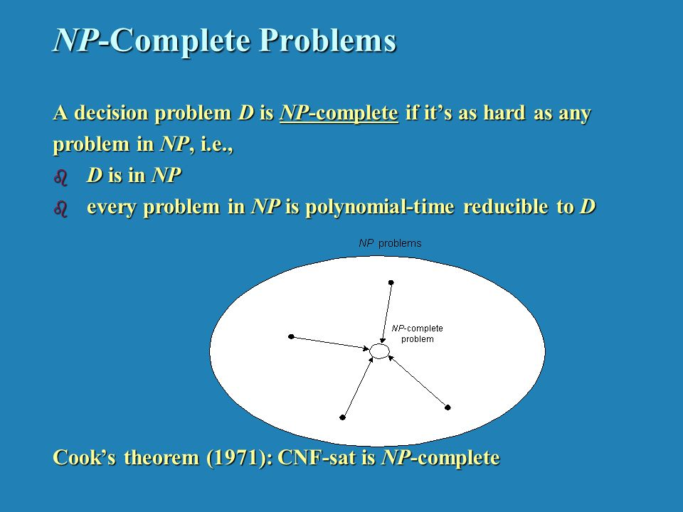 NP-Complete Problems A decision problem D is NP-complete if it's as hard as any problem in NP, i.e., b D is in NP b every problem in NP is polynomial-time reducible to D Cook's theorem (1971): CNF-sat is NP-complete