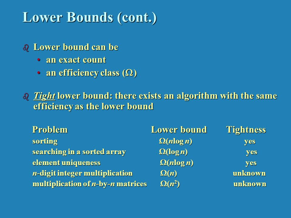 Lower Bounds (cont.) b Lower bound can be an exact countan exact count an efficiency class (  )an efficiency class (  ) b Tight lower bound: there exists an algorithm with the same efficiency as the lower bound Problem Lower boundTightness Problem Lower boundTightness sorting  (nlog n) yes sorting  (nlog n) yes searching in a sorted array  (log n) yes searching in a sorted array  (log n) yes element uniqueness  (nlog n) yes element uniqueness  (nlog n) yes n-digit integer multiplication  (n) unknown n-digit integer multiplication  (n) unknown multiplication of n-by-n matrices  (n 2 ) unknown multiplication of n-by-n matrices  (n 2 ) unknown