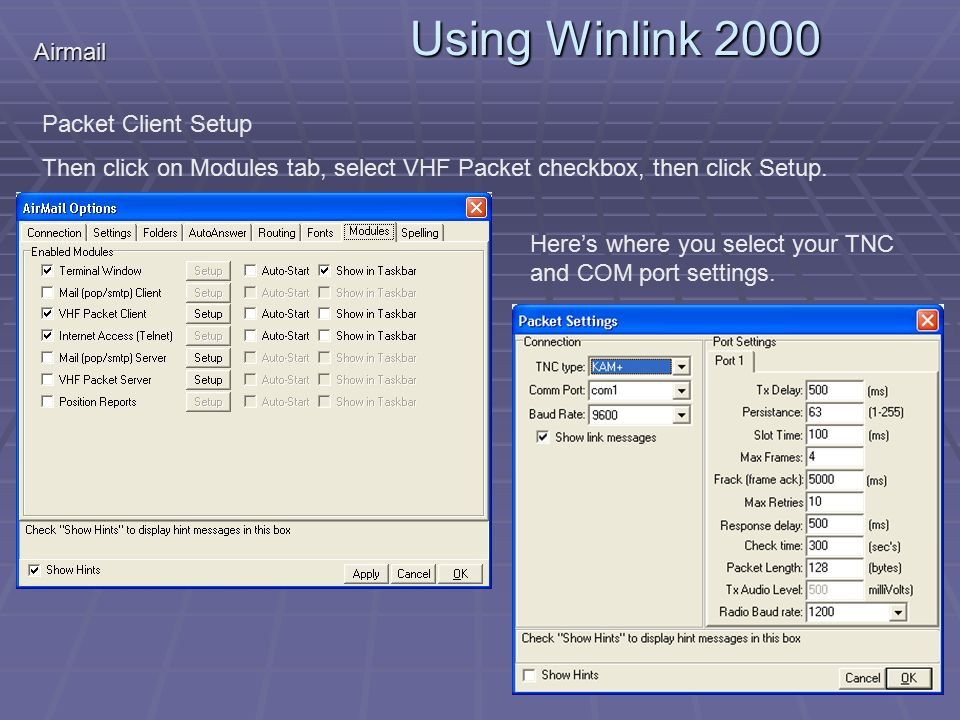 Using Winlink  Winlink Overview  Airmail Installation