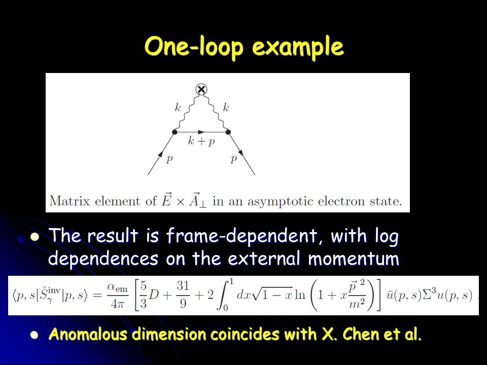 One-loop example The result is frame-dependent, with log dependences on the external momentum The result is frame-dependent, with log dependences on the external momentum Anomalous dimension coincides with X.