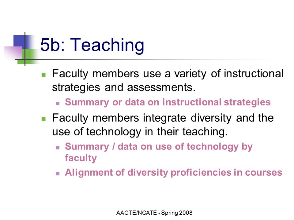 AACTE/NCATE - Spring b: Teaching Faculty members use a variety of instructional strategies and assessments.