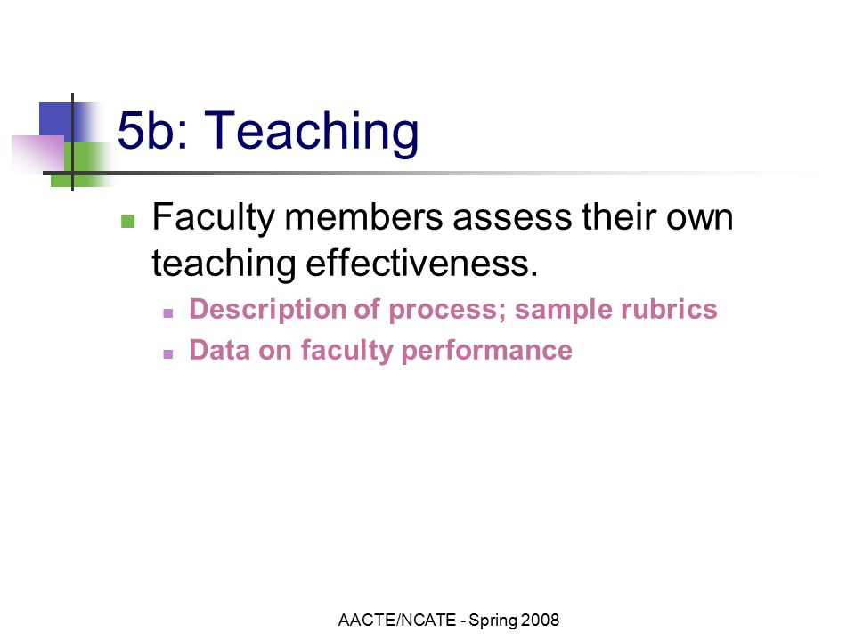 AACTE/NCATE - Spring b: Teaching Faculty members assess their own teaching effectiveness.