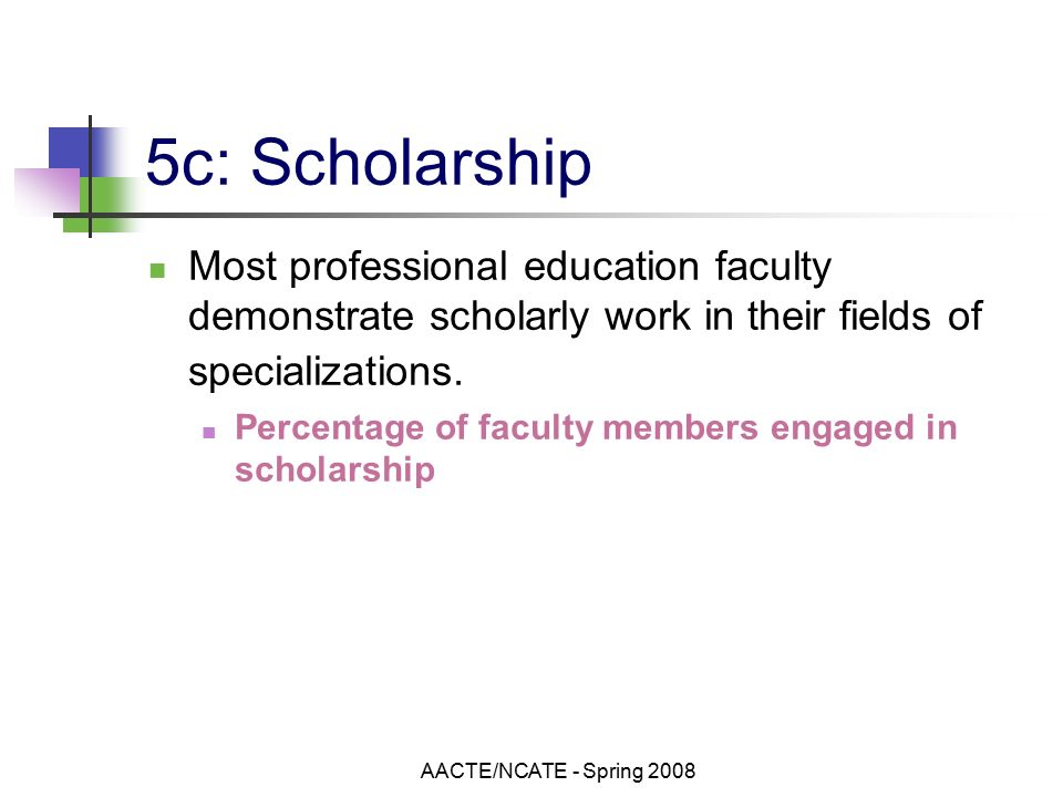 AACTE/NCATE - Spring c: Scholarship Most professional education faculty demonstrate scholarly work in their fields of specializations.