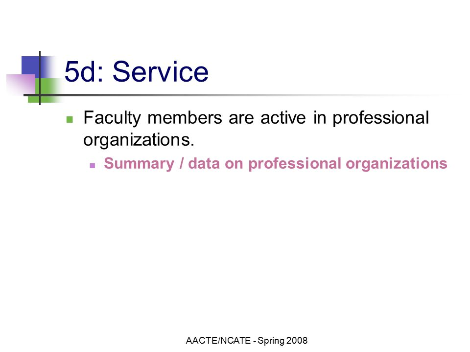 AACTE/NCATE - Spring d: Service Faculty members are active in professional organizations.