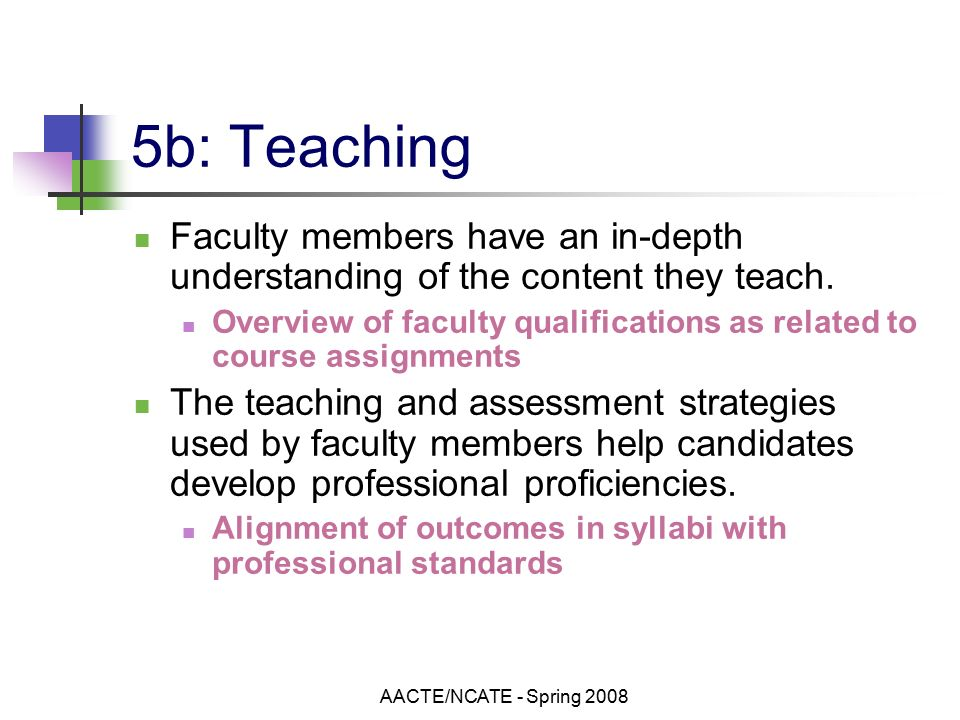 AACTE/NCATE - Spring b: Teaching Faculty members have an in-depth understanding of the content they teach.