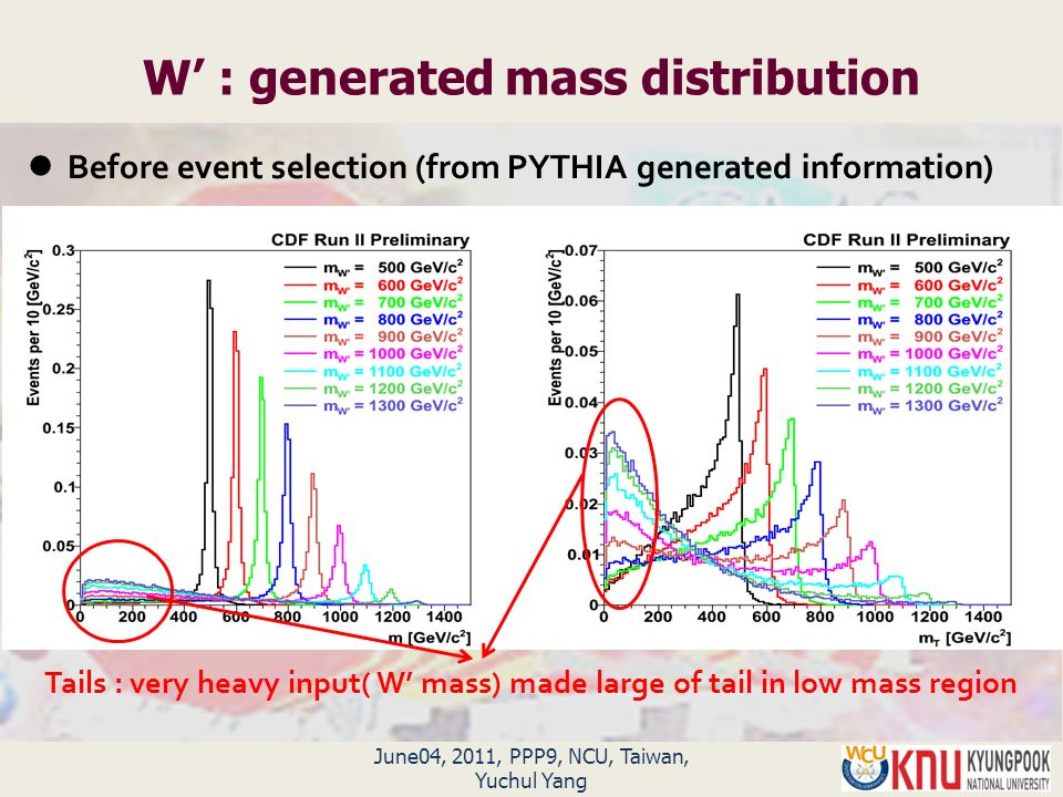 June04, 2011, PPP9, NCU, Taiwan, Yuchul Yang W' : generated mass distribution Tails : very heavy input( W' mass) made large of tail in low mass region Before event selection (from PYTHIA generated information)