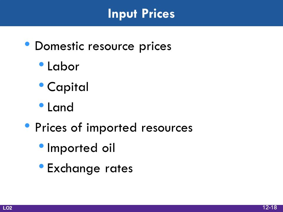 Input Prices Domestic resource prices Labor Capital Land Prices of imported resources Imported oil Exchange rates LO