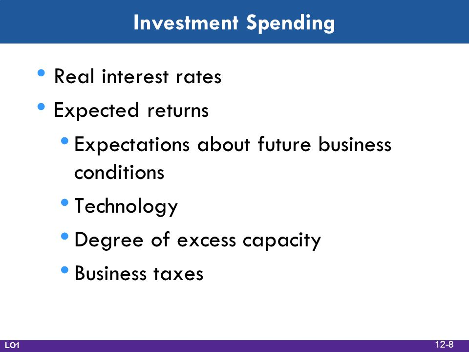 Investment Spending Real interest rates Expected returns Expectations about future business conditions Technology Degree of excess capacity Business taxes LO1 12-8
