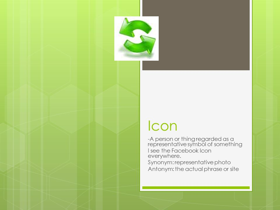 Icon -A person or thing regarded as a representative symbol