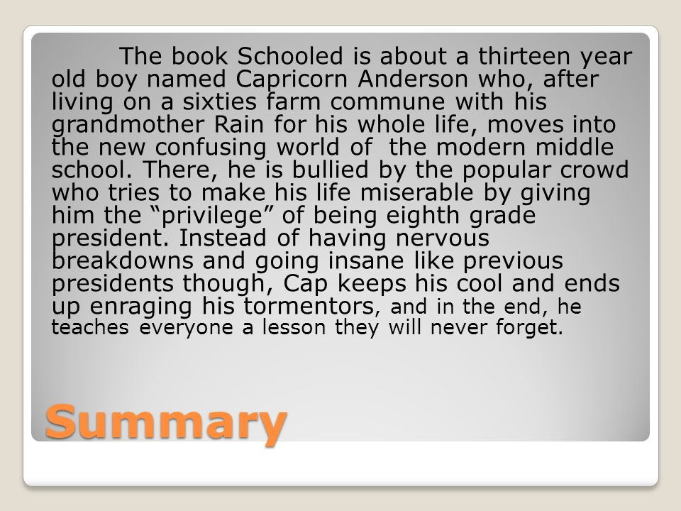 SCHOOLED By Gordon Korman Report Written By Peggy Polydoros. - ppt ...