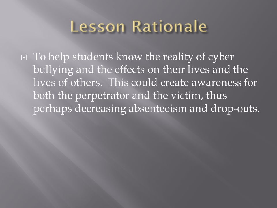 cyber bullying attention getter