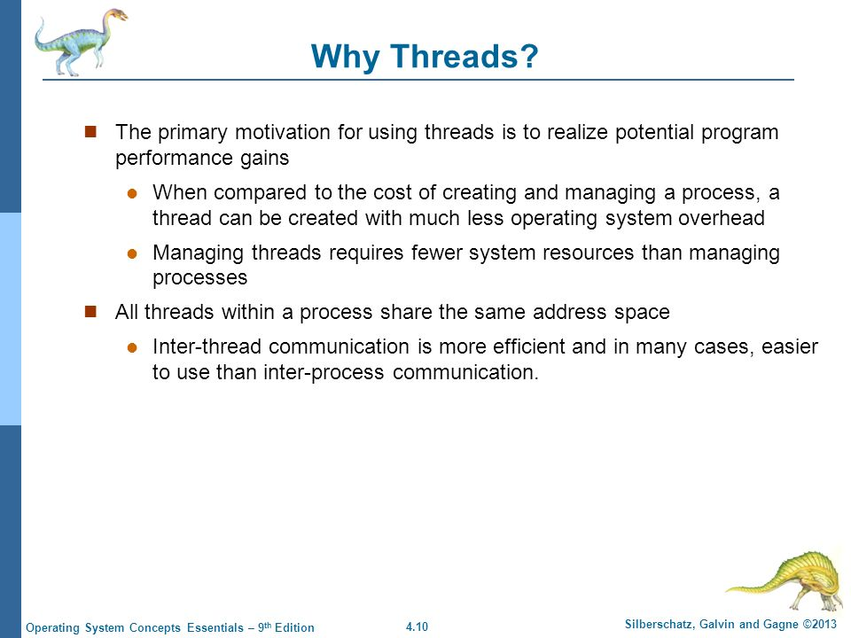 4.10 Silberschatz, Galvin and Gagne ©2013 Operating System Concepts Essentials – 9 th Edition Why Threads.