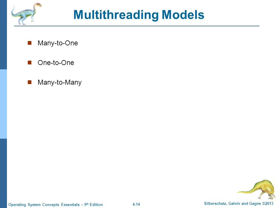 4.14 Silberschatz, Galvin and Gagne ©2013 Operating System Concepts Essentials – 9 th Edition Multithreading Models Many-to-One One-to-One Many-to-Many