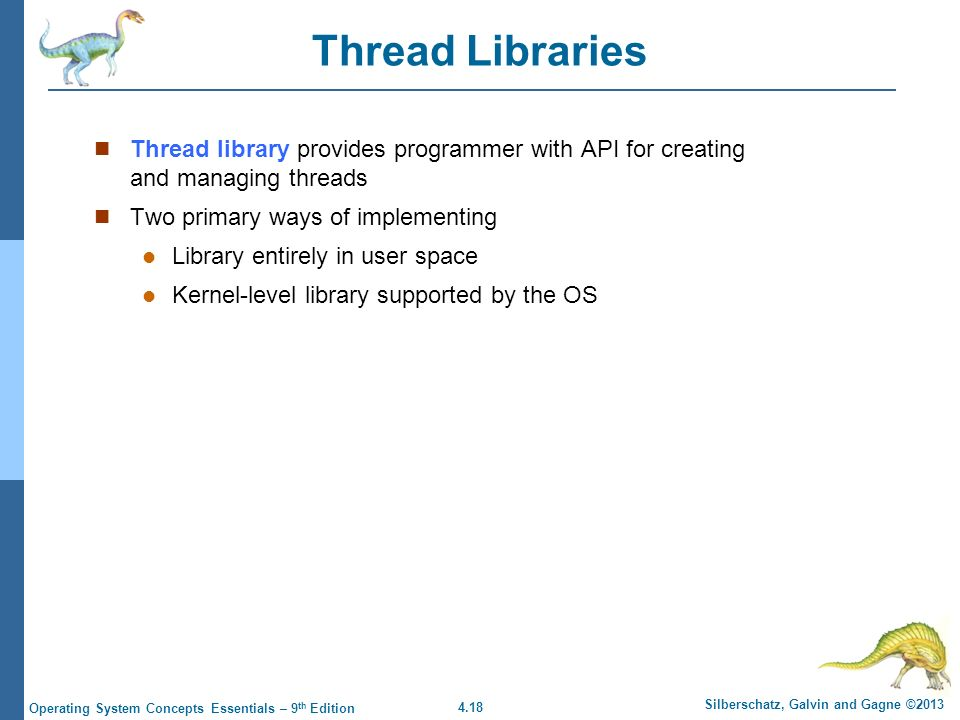 4.18 Silberschatz, Galvin and Gagne ©2013 Operating System Concepts Essentials – 9 th Edition Thread Libraries Thread library provides programmer with API for creating and managing threads Two primary ways of implementing Library entirely in user space Kernel-level library supported by the OS