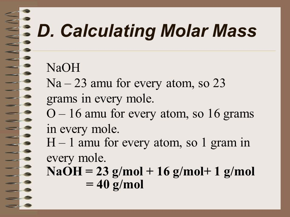 The Mole  I  Why the Mole? A  Atomic Mass The mass of one