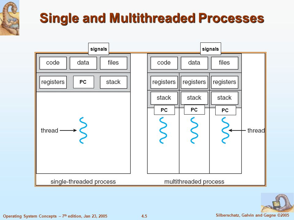 4.5 Silberschatz, Galvin and Gagne ©2005 Operating System Concepts – 7 th edition, Jan 23, 2005 Single and Multithreaded Processes signals PC